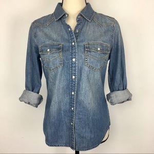 J Crew denim shirt with snaps and western yoke